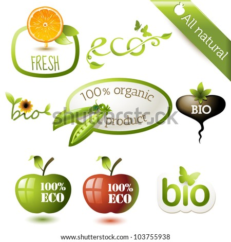 Eco, organic, bio and organic stickers or labels
