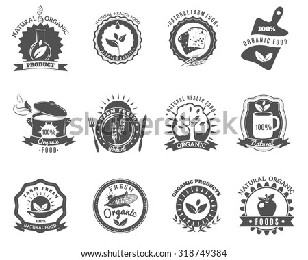 Eco organic food brands emblems for best quality products black icons set abstract isolated vector illustration - stock vector