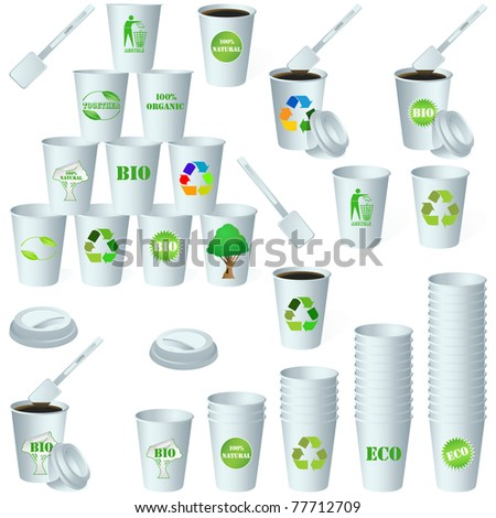 Eco paper energy drink cup design. Vector set 4 - stock vector