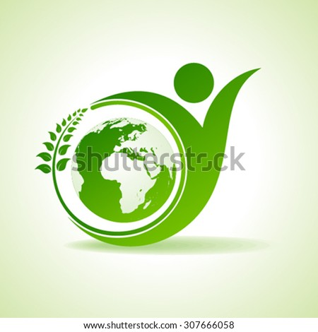 Eco people celebration icon with leaf and earth design vector - stock vector