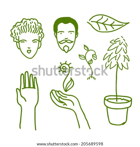 eco_persons hand plants_vector illustration - stock vector