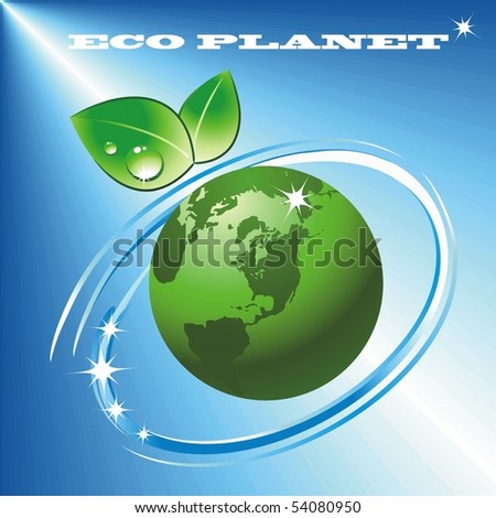 Eco planet against the blue sky - stock vector