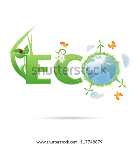 Eco-planet text symbol/Eco-planet text symbol with grass,wind power generators, clouds,flower,ladybug and butterflies