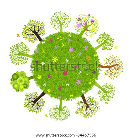 Eco Planet With Tree, Isolated On Black Background, Vector Illustration - stock vector