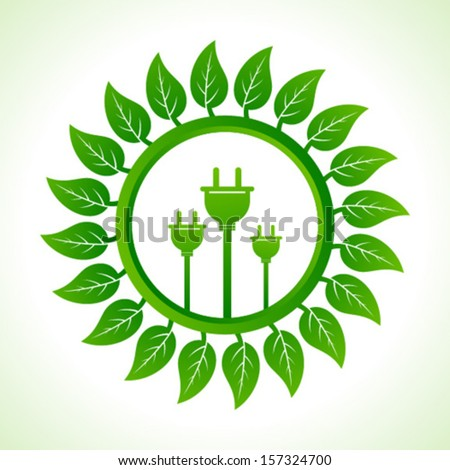 Eco plug inside the leaf background stock vector - stock vector
