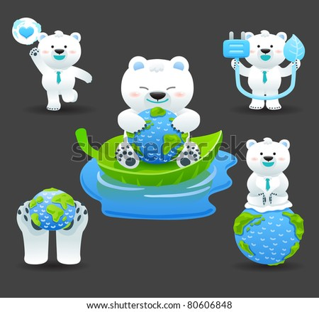 ECO & Polar bear - stock vector