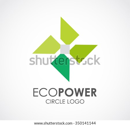 Eco power of circle abstract vector and logo design or template green energy business icon of company identity symbol concept - stock vector