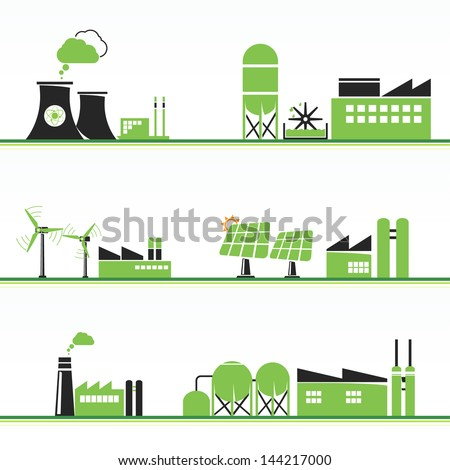 ECO power plants and facilities - stock vector
