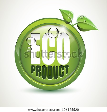 Eco product - glossy icon - stock vector