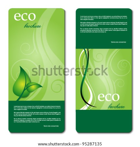 eco promotion brochure with diverse logo green elements - stock vector