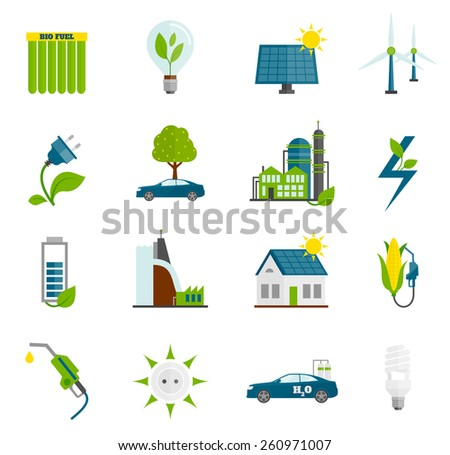 Eco renewable and alternative energy flat icons set isolated vector illustration