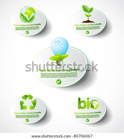 Eco sticker collection 1 - stock vector