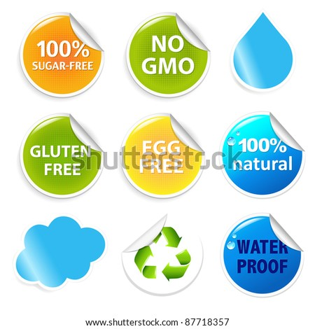 Eco Symbols Eco Labels Set, Isolated On White Background, Vector Illustration
