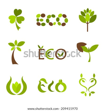 Eco symbols or icons collection. Vector illustration - stock vector
