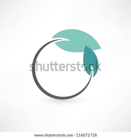 Eco symbols with leaf - stock vector