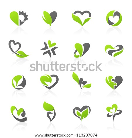 Eco-themed design elements in shape of heart. Vector illustration. - stock vector