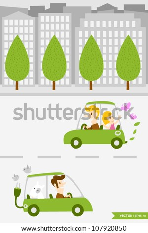 Eco Town (1) - stock vector