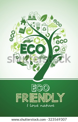 Eco tree Friendly formed by Icons , Vector Illustration
