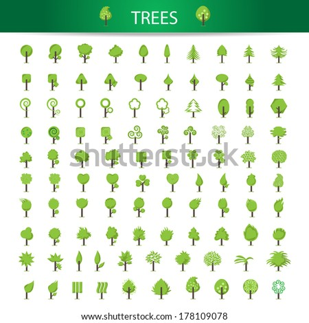 Eco Tree Icons Set - Isolated On White Background - Vector Illustration, Graphic Design Editable For Your Design. Tree Icons Collection - stock vector