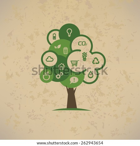 eco tree with environmental icons set - stock vector
