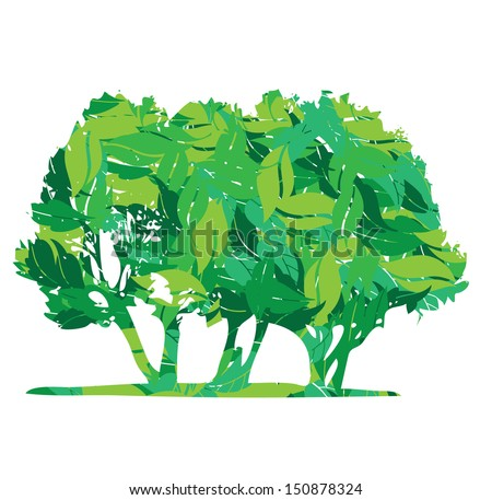 eco trees in leaves vector illustration