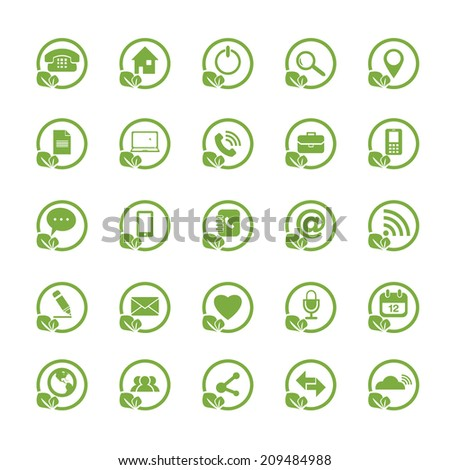 Eco Universal Outline Icons For Web and Mobile  - stock vector