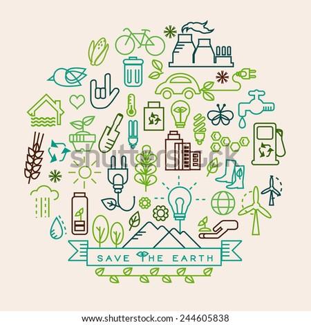 Eco vector. Ecology icon set. - stock vector
