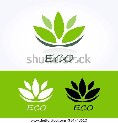 eco vector logo with green.Vector illustration   - stock vector