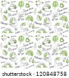 Eco vector set seamless pattern - stock