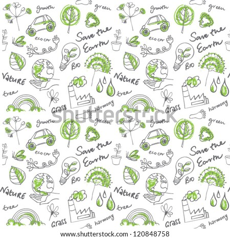 Eco vector set seamless pattern - stock vector