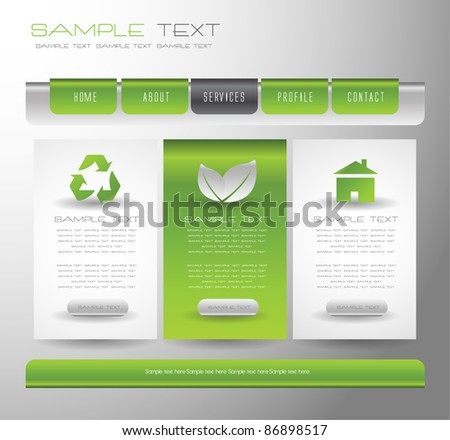 eco web design template easy to edit vector - stock vector