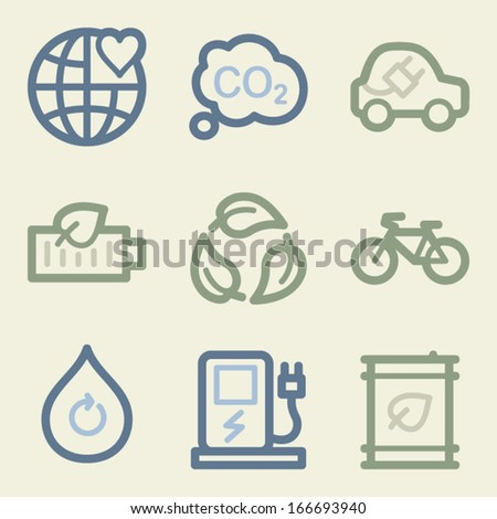 Eco web icons, money color set - stock vector