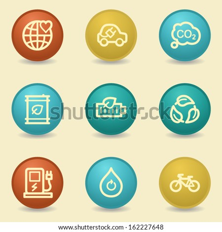 Eco web icons, retro buttons