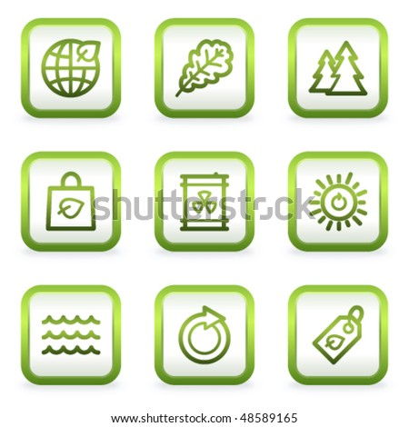 Eco web icons set 3, square buttons, green contour