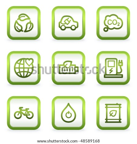 Eco web icons set 4, square buttons, green contour