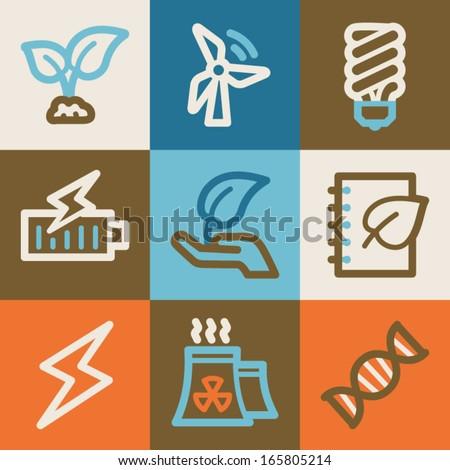 Eco web icons, vintage series - stock vector