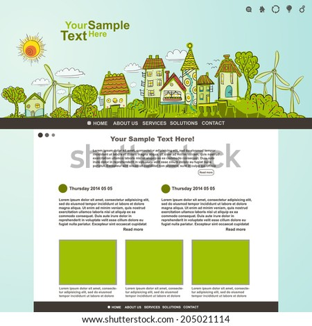 Eco website template illustration, vector - stock vector