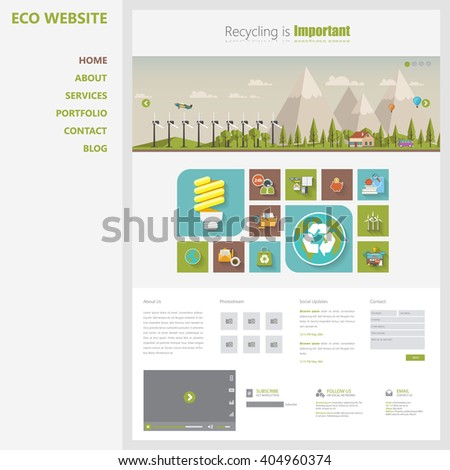 Eco Website Template Vector Eps10, Modern Web Design with flat UI elements and eco landscape illustration. Ideal for Business layout - stock vector
