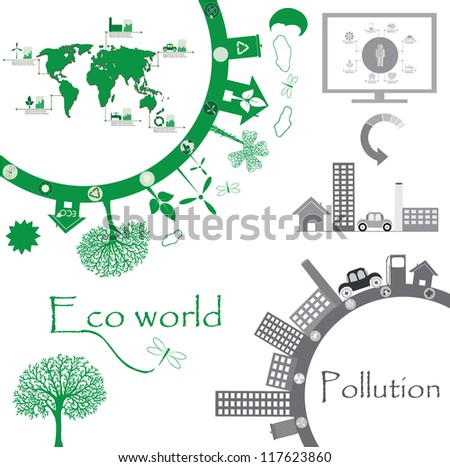 Eco world illustration with world map, charts, human info graphic elements... - stock vector
