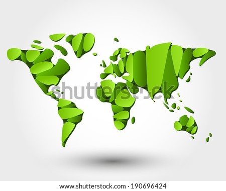 eco world map. eco map concept - stock vector