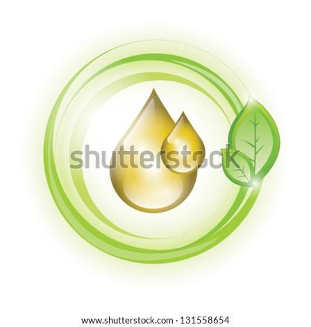 Eco yellow oil drop, EPS 10, isolated - stock vector