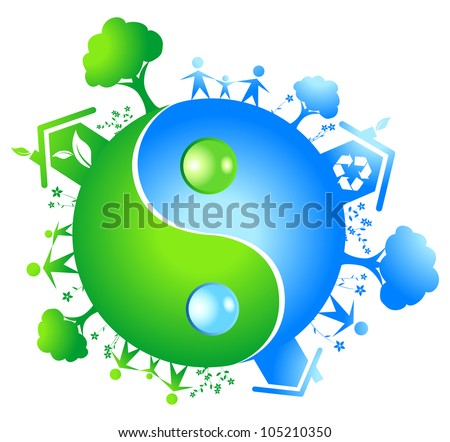 Eco yinyang. Vector ilustration - stock vector