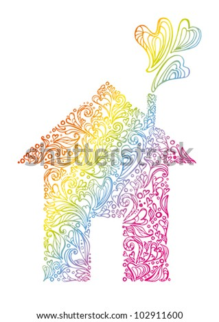 Ecohouse. Symbolic form of the house dialed from abstract leaves and hearts decorated rainbow. - stock vector