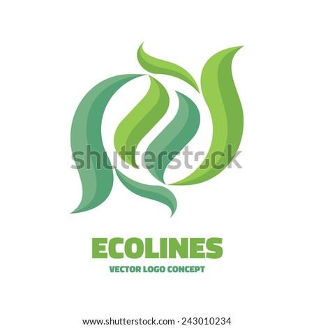 Ecolines - vector logo concept illustration. Abstract leaf logo. Vector design element.  - stock vector