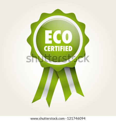 ecologic bio label badge - stock vector
