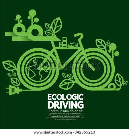 Ecologic Driving Green Concept Vector Illustration