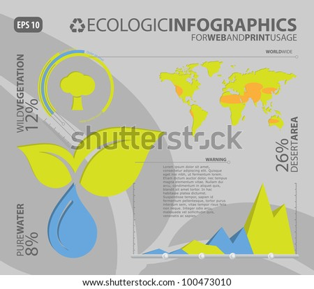 Ecologic infographic elements for web and print usage - stock vector