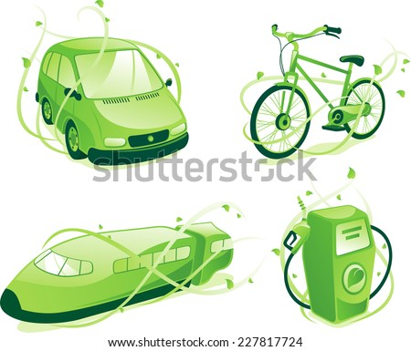Ecologic transportation, includes green car,train,bicycle, gas pump. - stock vector