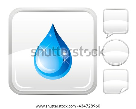 Ecological and environment protection icon with water drop and set of other blank buttons. Speaking bubble, circle, sticker - stock vector