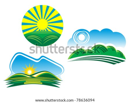 Ecological and nature symbols isolated on white, such a logo. Jpeg version also available - stock vector